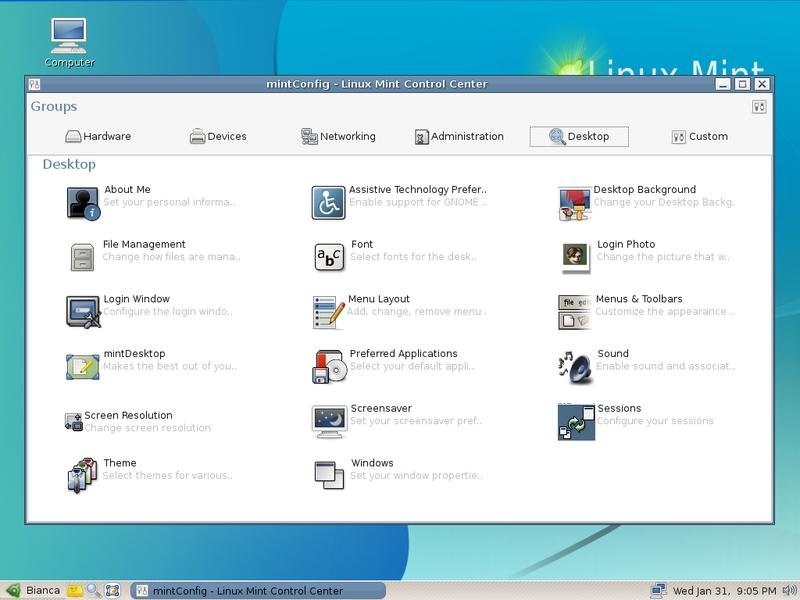 Linux Mint 2.2 Bianca (febr. 2007) - Source: Wikimedia